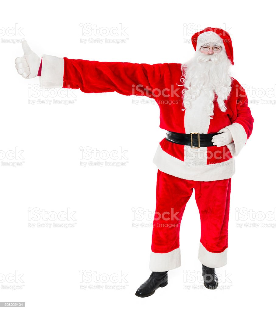 Christmas Santa Claus with Really Big Hand Giving Thumbs Up stock photo