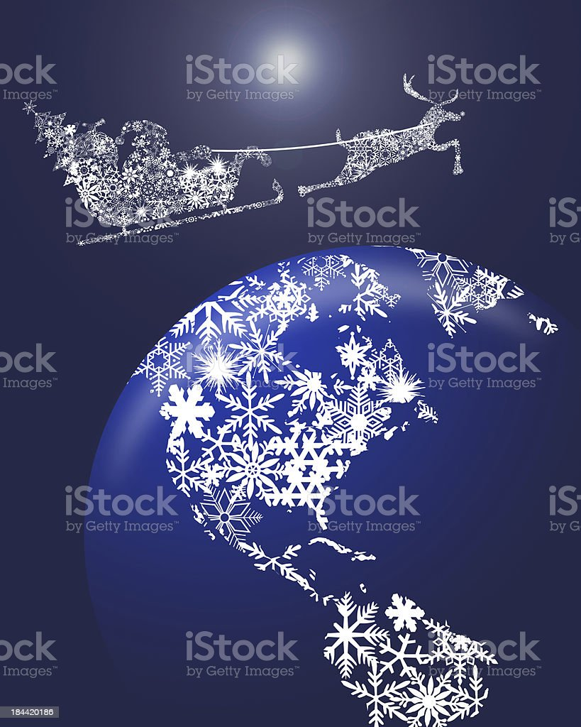 Christmas Santa in Sleigh with Reindeer over Earth royalty-free stock vector art