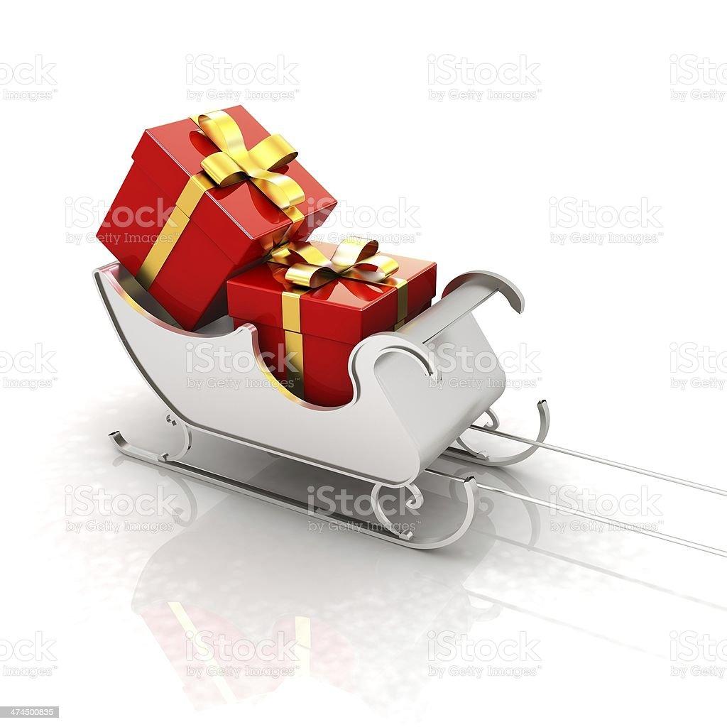 Christmas Santa sledge with gifts royalty-free stock photo
