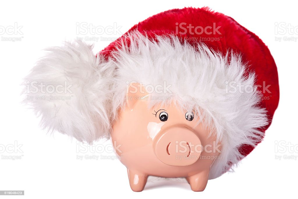 Christmas savings. Piggy bank with Santa hat. stock photo