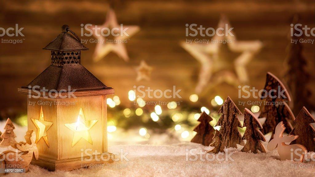 Christmas scene in warm lantern light stock photo