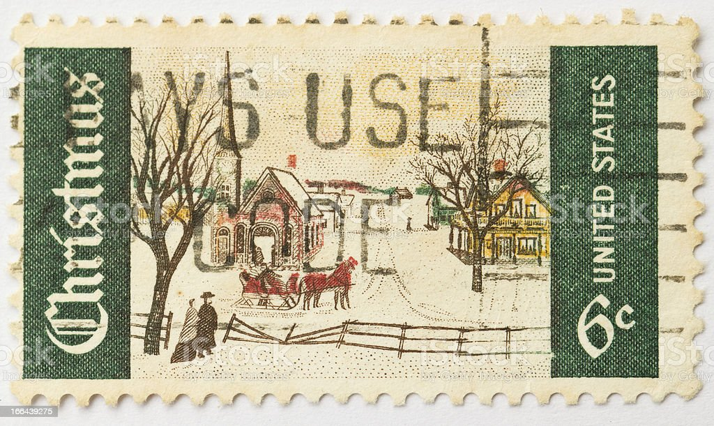 Christmas Scene Postage Stamp stock photo