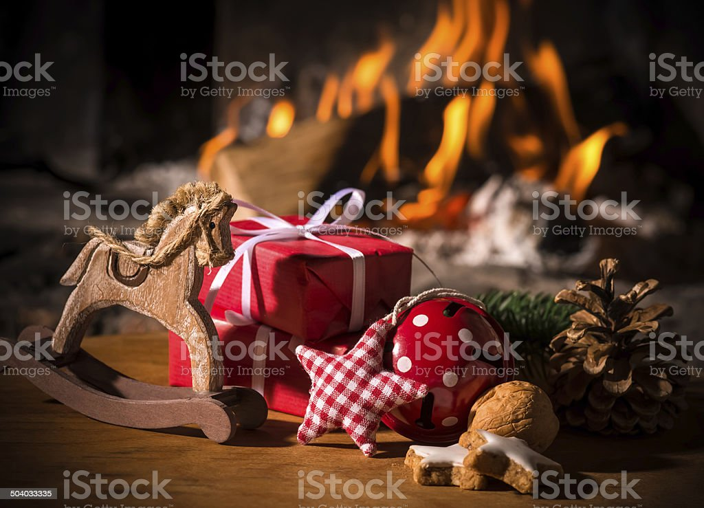 Christmas scene with tree gifts stock photo