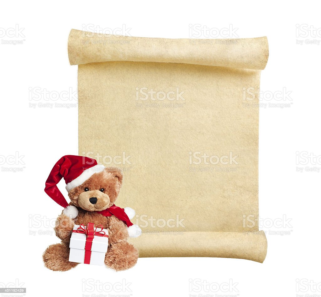 Christmas scroll with toy bear stock photo