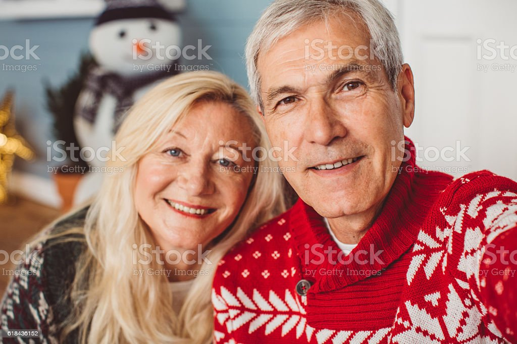 Christmas selfie. stock photo