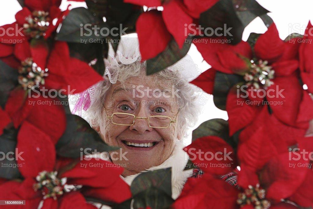 Christmas: Senior Mrs Claus with pointsetta wreath stock photo