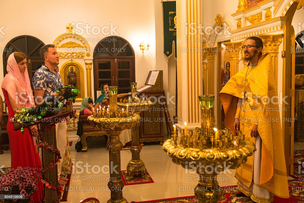 Christmas service and vigil on Feast of  Nativity of Christ stock photo