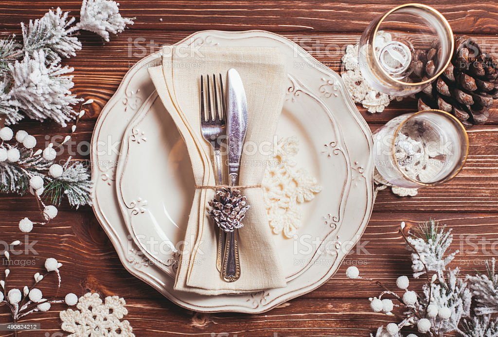 Christmas serving table stock photo