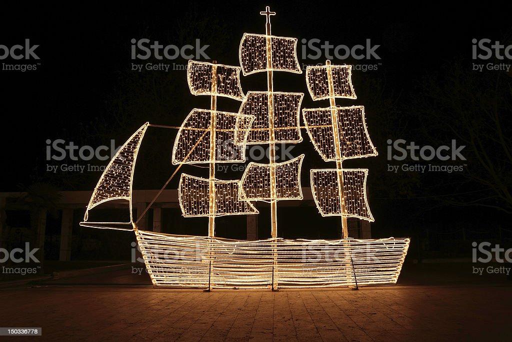 Christmas ship at night stock photo