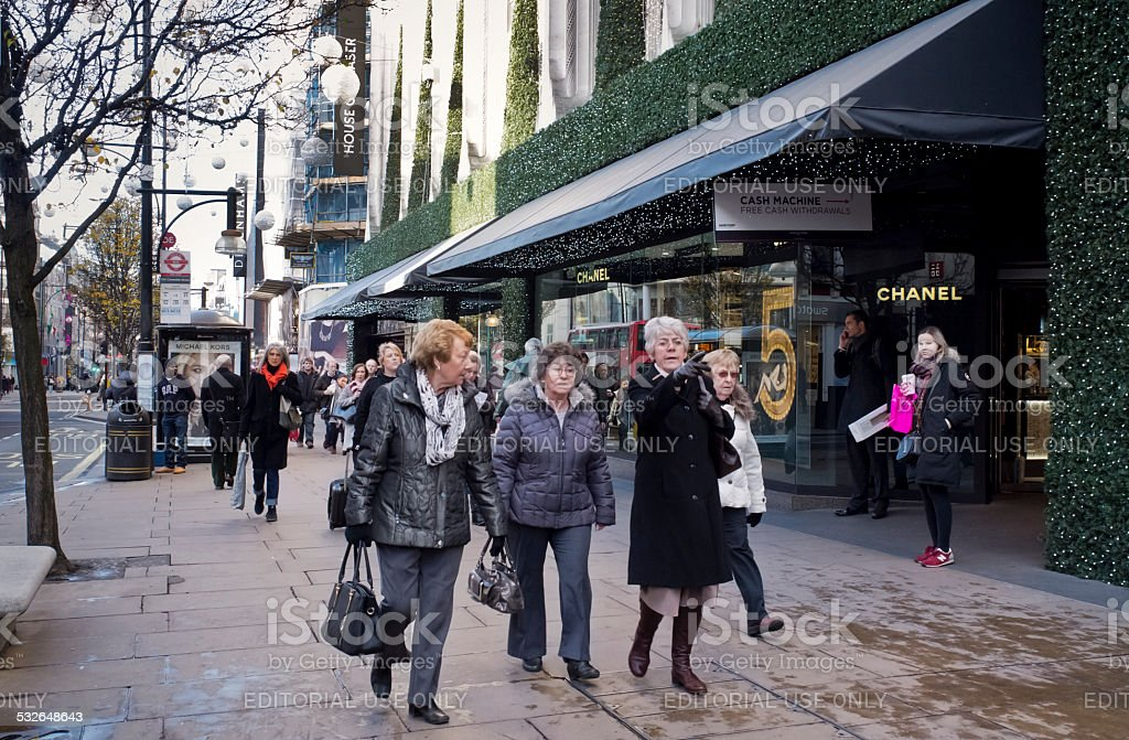 Christmas shoppers in Oxford Street stock photo