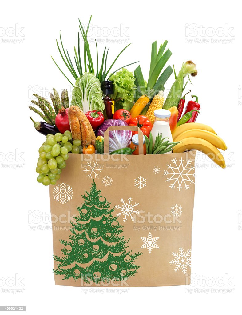 Christmas shopping bag stock photo