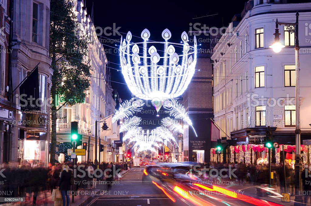 Christmas shopping, Bond Street, central London stock photo