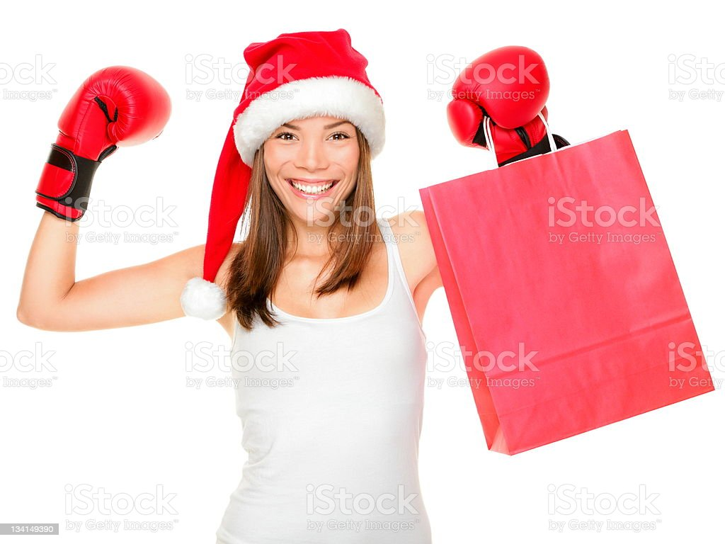 Christmas shopping boxing day stock photo