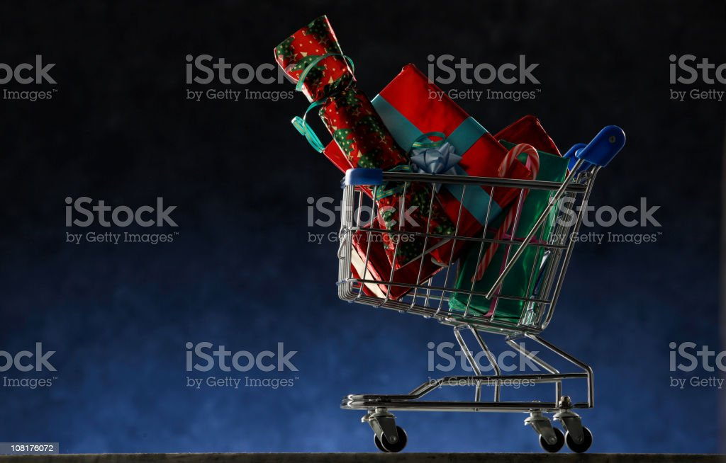 Christmas: Shopping Cart with Christmas Gifts royalty-free stock photo