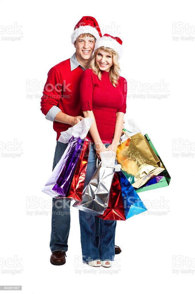 Christmas shopping couple royalty-free stock photo