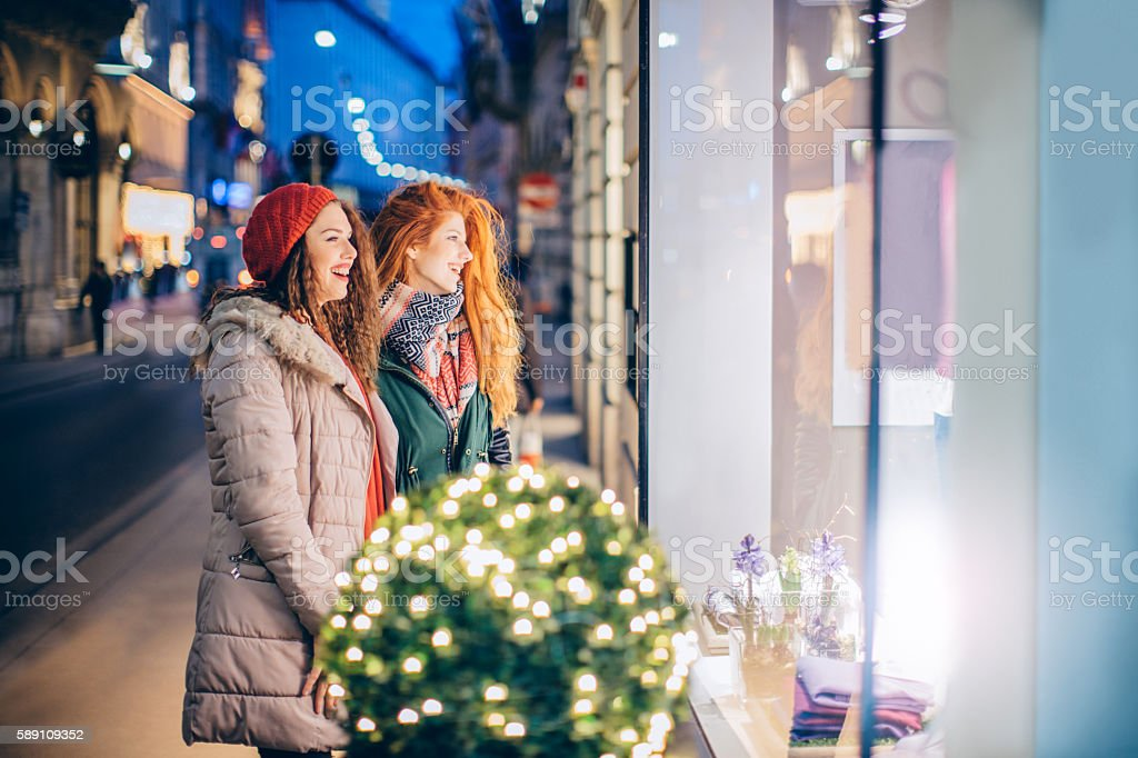 Christmas shopping fever stock photo