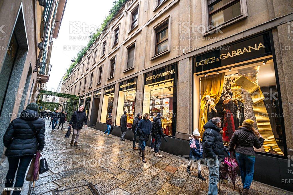 Christmas shopping in Milan, Dolce & Gabbana store stock photo