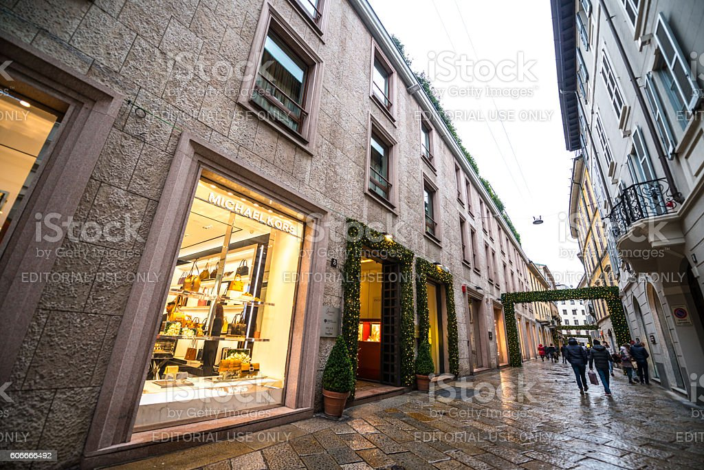 Christmas shopping in Milan, Michael Kors store stock photo