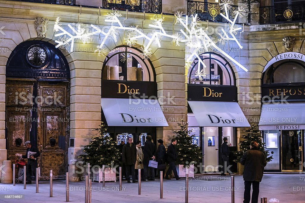 Christmas Shopping in Paris, Dior on Place Vendome stock photo