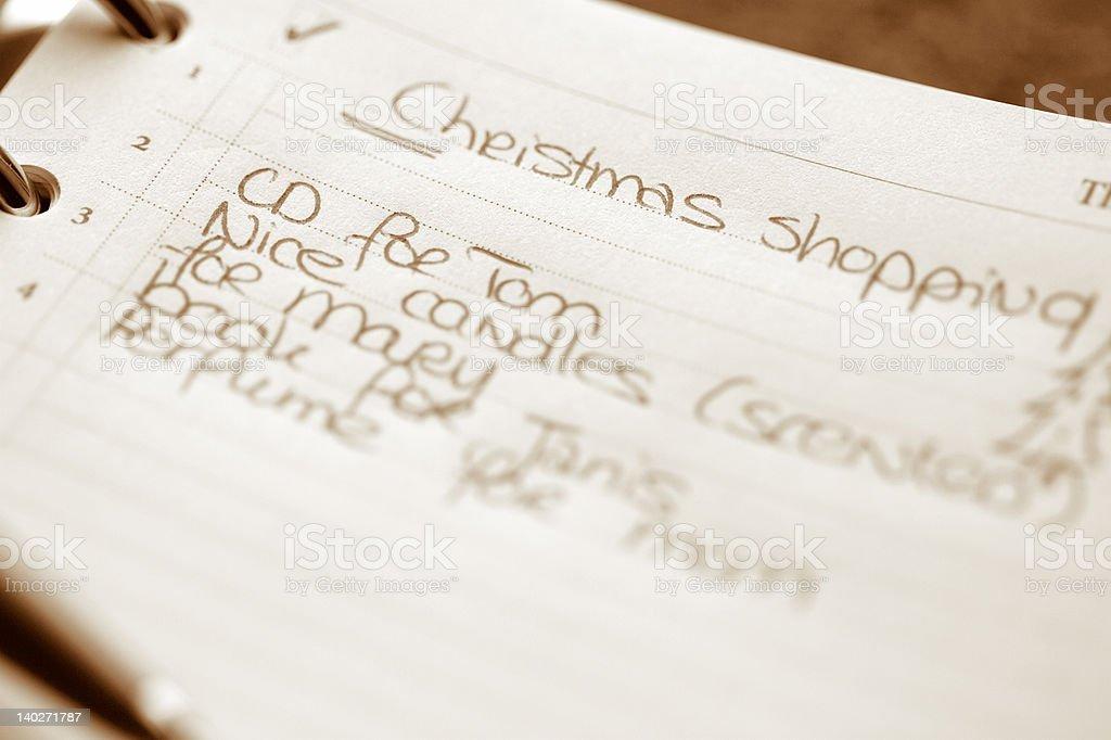 Christmas shopping list royalty-free stock photo