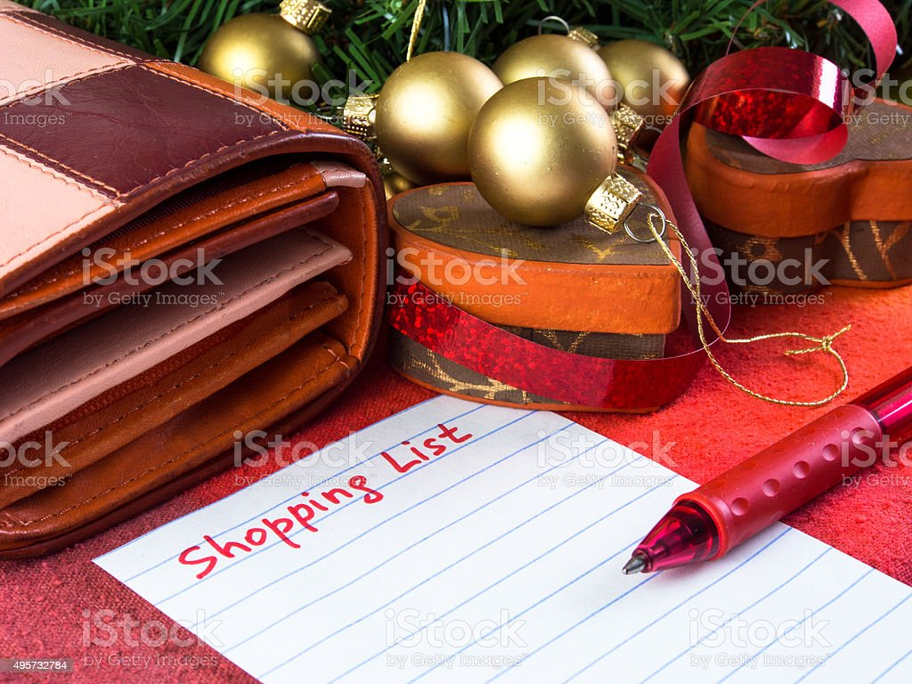 Christmas shopping list stock photo