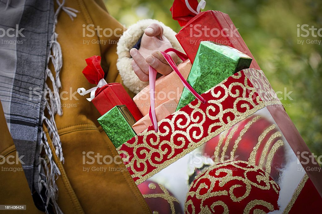 Christmas shopping - purchasing is satisfaction and happiness stock photo