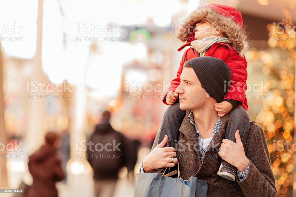 Christmas shopping with my dad stock photo
