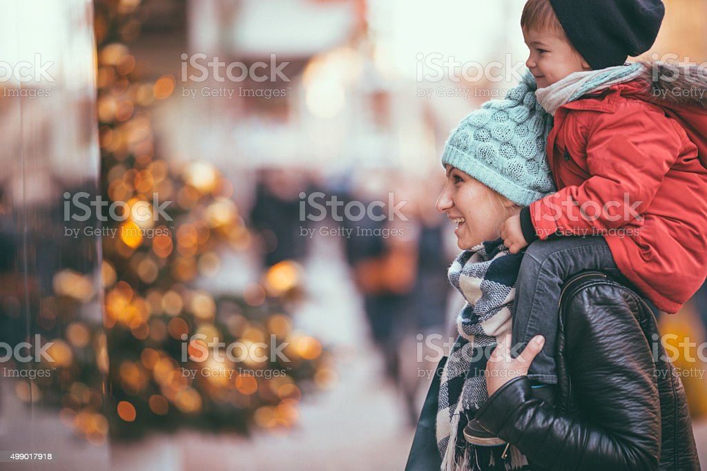 Christmas shopping with my mom stock photo