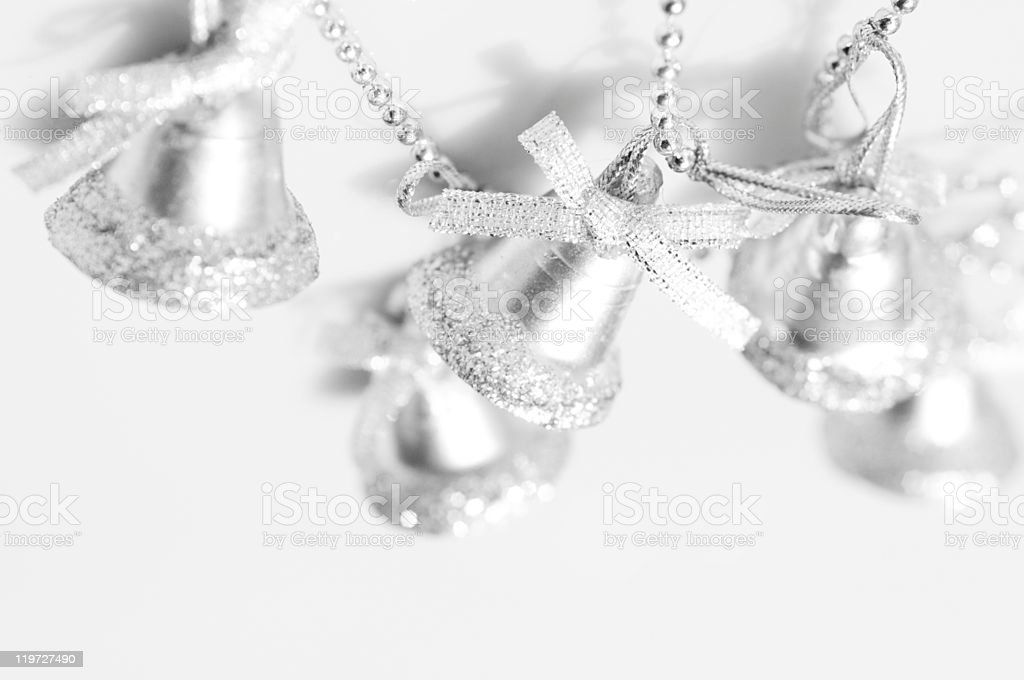 Christmas' silver bells background stock photo