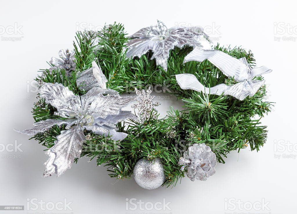 Christmas silver wreath isolated on white stock photo