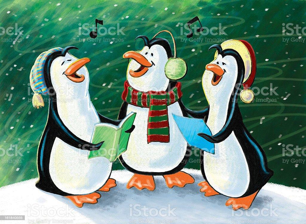 Christmas Singing Penguins stock photo