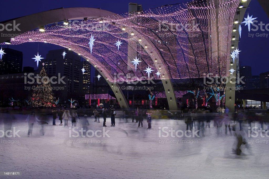 Christmas skaters royalty-free stock photo
