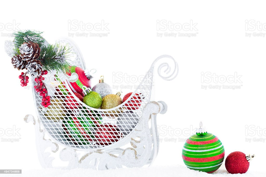 Christmas Sled Filled Red Green Gold Ball Ornaments Snow Vintage royalty-free stock photo