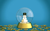 Christmas snow globe with snowman and golden snow flakes