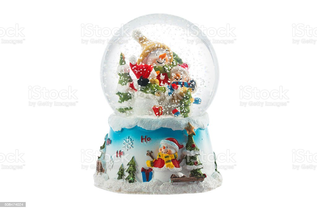 Christmas snow glove with snowman isolated on white stock photo