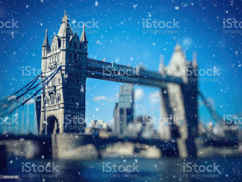 Christmas snow in London stock photo