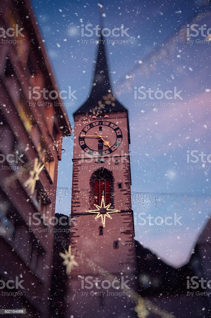 Christmas snow in Switzerland, Chur stock photo