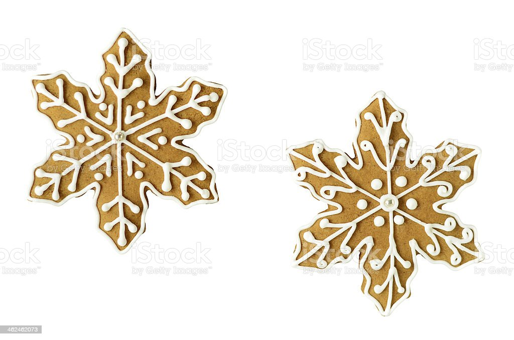 Christmas snowflake gingerbread cookies stock photo