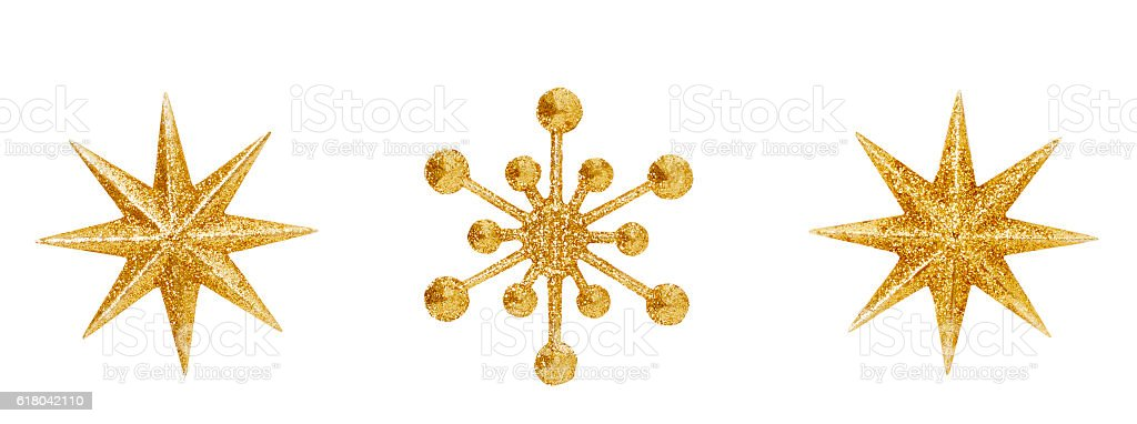 Christmas Snowflake Star Hanging Decoration, Golden Xmas Decorative Ornate Isolated stock photo