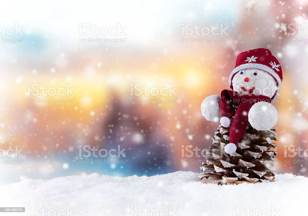 Christmas snowman stock photo