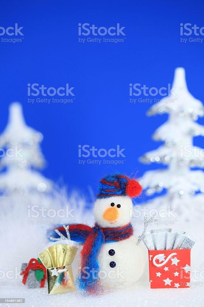 Christmas Snowman Shopping stock photo