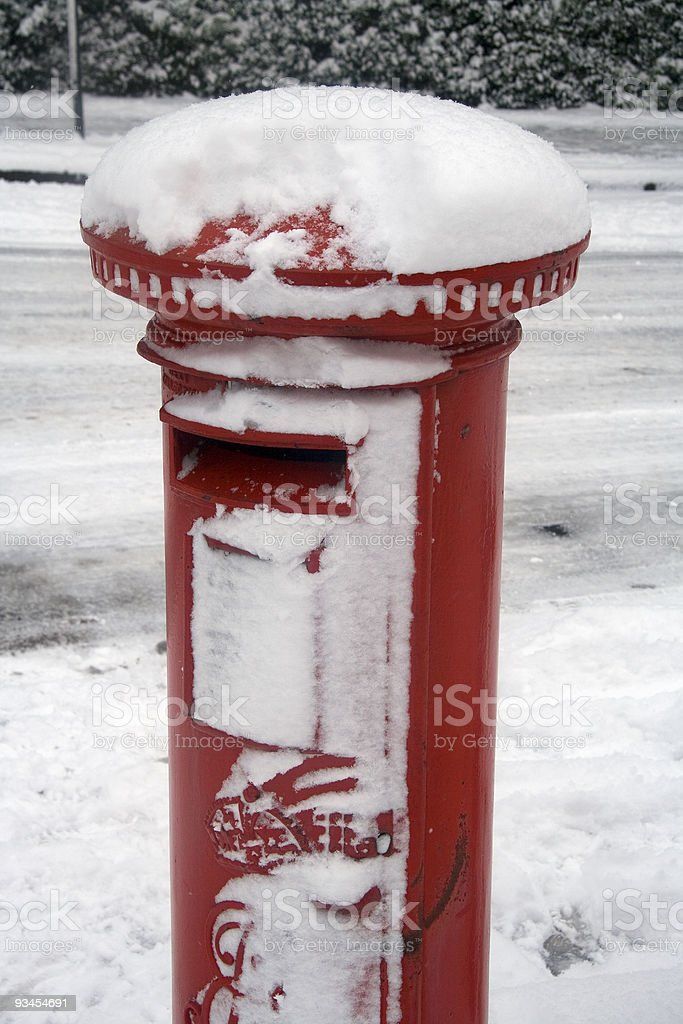 Christmas snowy mail stock photo