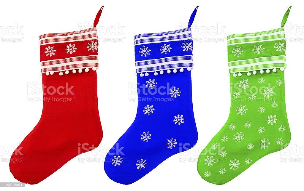christmas socks with white snowflakes for Santa gifts stock photo