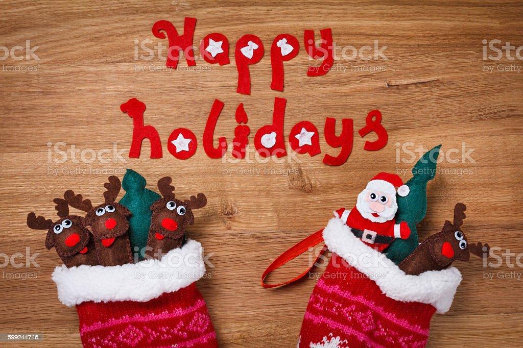 Christmas Socks. Xmas Decoration, Santa and deers toys stock photo