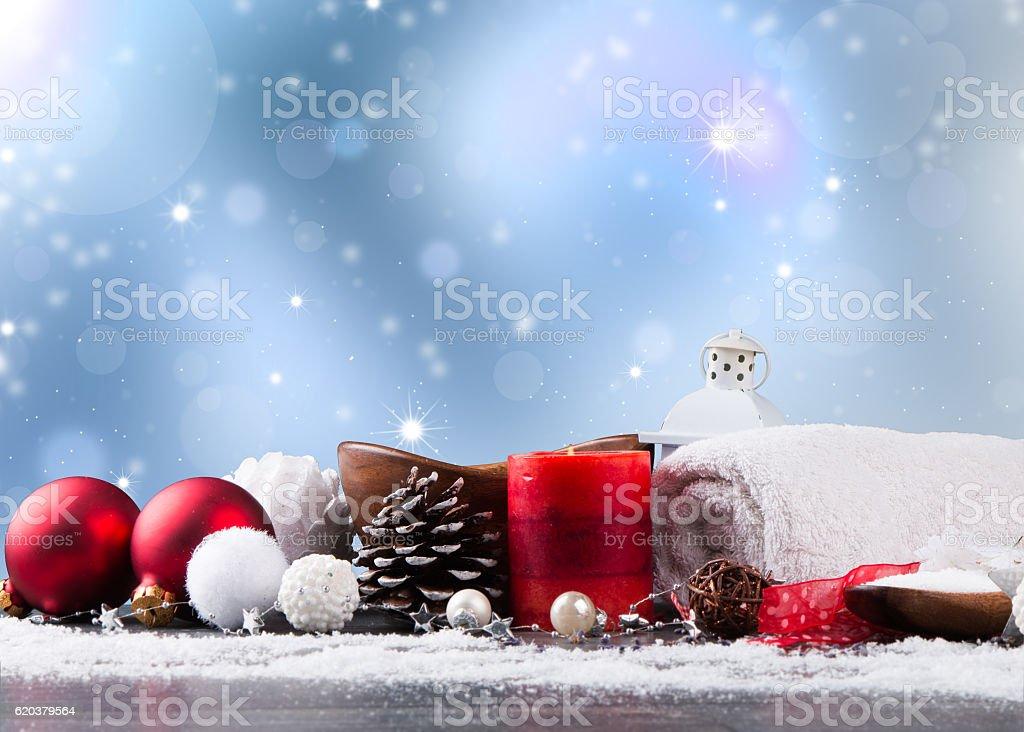 Christmas spa decoration stock photo