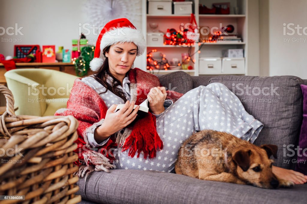 Christmas Spent with her Pet Dog stock photo