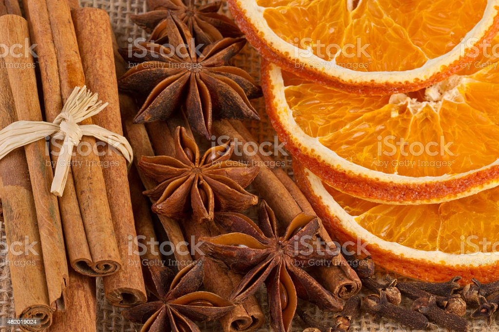 Christmas Spices on Jute Background, Close-up stock photo