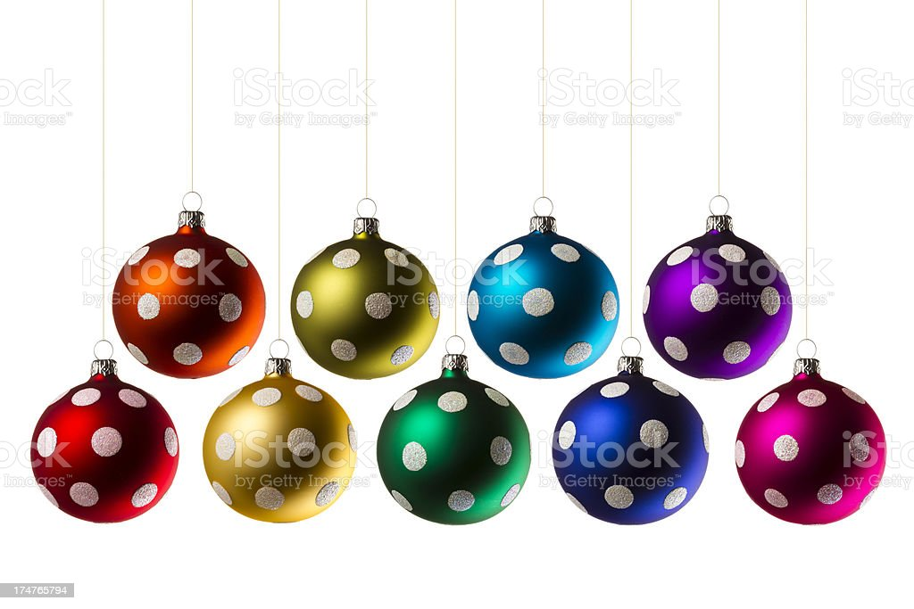 Christmas Spottet Glitter Ornaments royalty-free stock photo