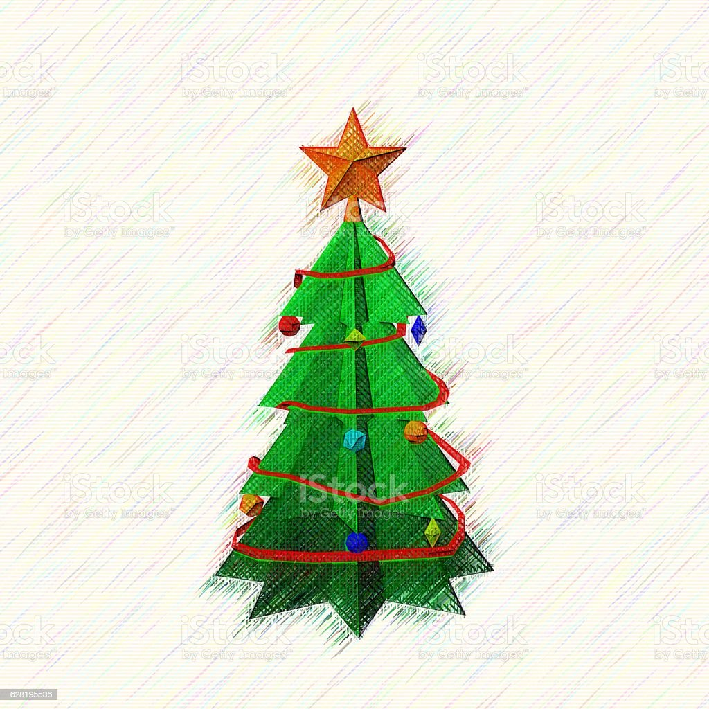 Christmas spruce tree.Drawing style.Digital colorful illustration. stock photo