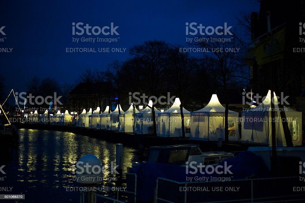 Christmas stalls at night stock photo